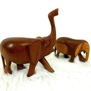 Carved Wood Elephant Pair Mom Baby Wooden Set